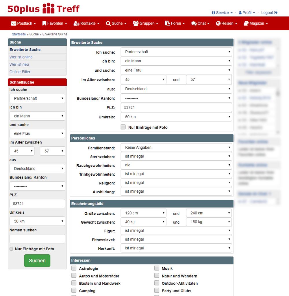 50plus-Treff Suche