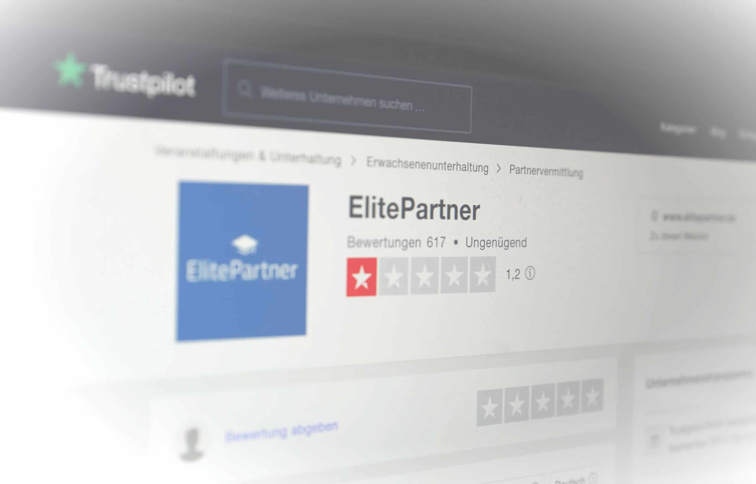 Erfahrungsberichte über Elitepartner auf Trustpilot
