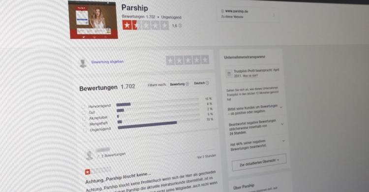 Kundenbewertungen zu Parship auf Trustpilot