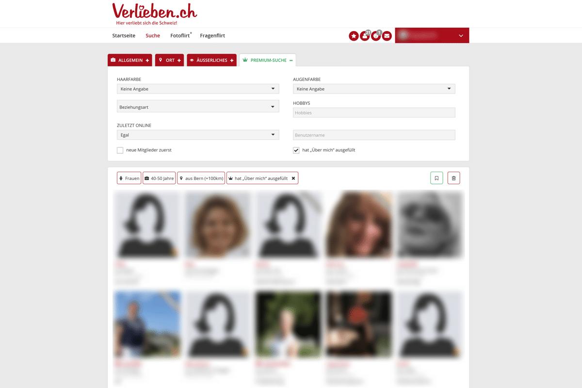 Verlieben.ch Premium-Suche